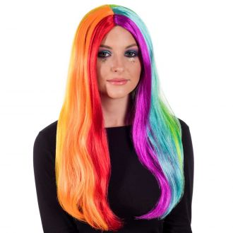 Deluxe Long Straight Rainbow Wig